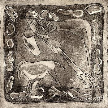 Petroglyph - Horse takhi and Stones - Prehistoric Art - Cave Art - Rock Art - Cave Painters by Urft Valley Art