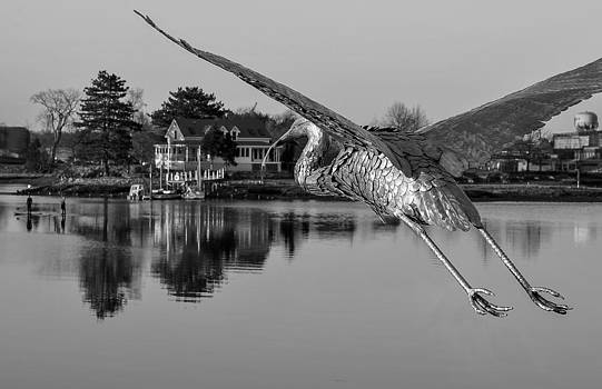 Pewter Great Blue Heron by Thomas Lavoie