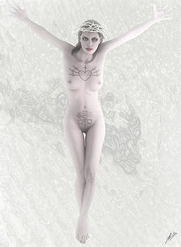 White woman crucified  by Quim Abella