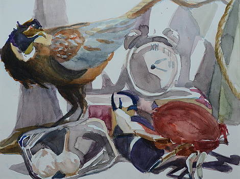 Pheasant Versus Crab With Garlic by Margaret Montgomery