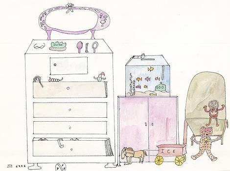 Pink Dolly Bedroom by Helen Holden-Gladsky