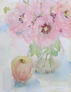 Pink Flowers and Apple by Bernice Grundy