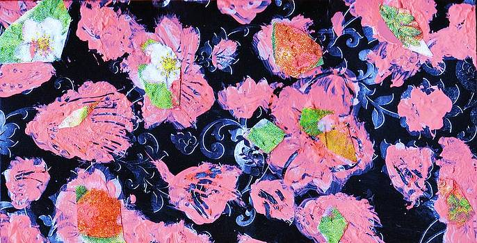 Anne-elizabeth Whiteway - Pink Flowers Black Night