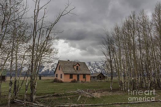 Pink House With Tetons at Grand Teton National Park by Steve Triplett