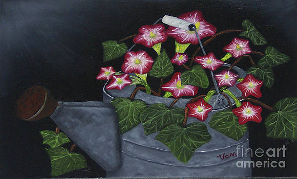 Pink Petunias in Galvanized Watering Can by Edward C Van Wicklen Sr