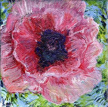 Regina Valluzzi - Pink poppy 3 by 3 in painting