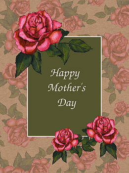 Joyce Geleynse - Pink Roses Card For Mothers Day