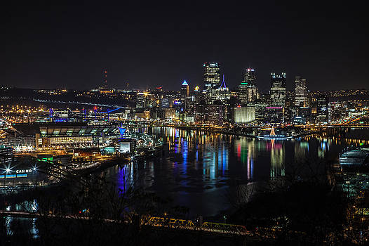 Pittsburgh Skyline at Night by April Reppucci