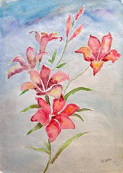 Plant with flowers paintin  by Hashim Khan