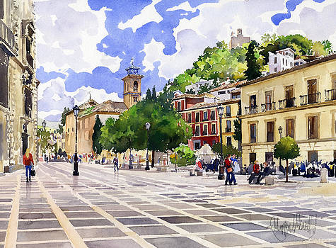 Plaza Nueva and Santa Ana Church Granada by Margaret Merry