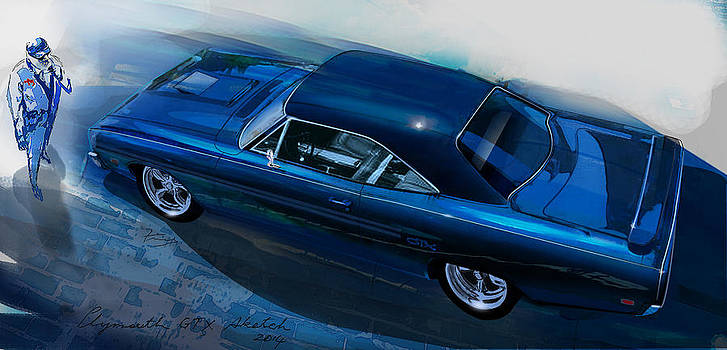 Plymouth GTX art by Fred Otene