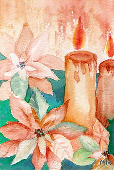 Poinsettias and Candlelight by Marsha Woods