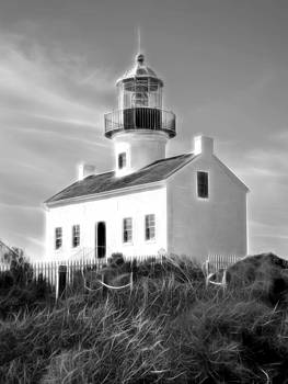 Point Loma Lighthouse Blk Wht by Chris Brannen