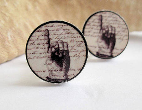 Pointing Fingers Cuff Links by Rony Bank