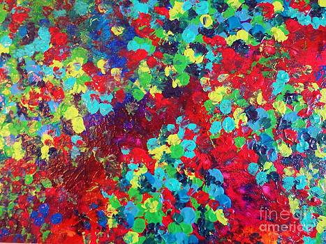 POND IN PIGMENT - Bright Bold Neon Abstract Acylic Floral Aquatic Painting Dots Pattern Trendy Gift  by Julia Di Sano