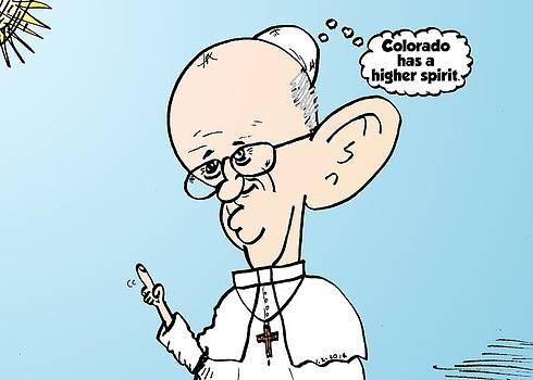 Pope Francis on Colorado THC reform cartoon by OptionsClick BlogArt