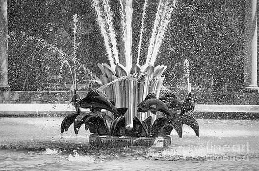 Kathleen K Parker - Popp Fountain in City Park BW