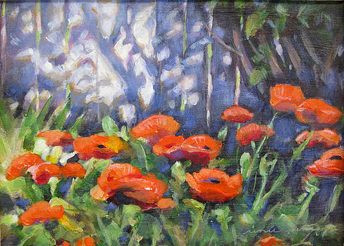 Poppies at the Fence by Renee Peterson