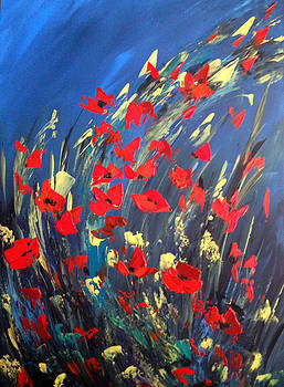 Poppies Field on A Windy Day by Dorothy Maier
