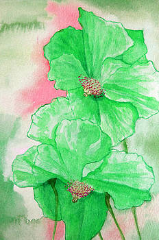 Poppies Pinks and Greens by Louise Grant