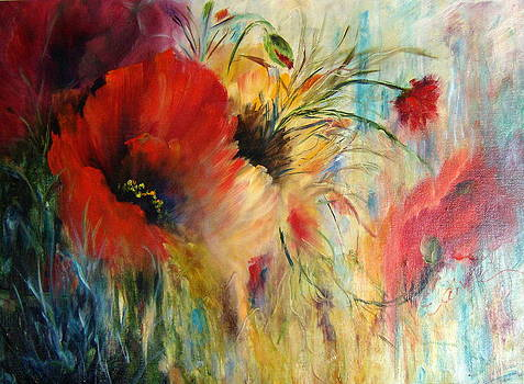 Poppy Abstraction by Elaine Bailey