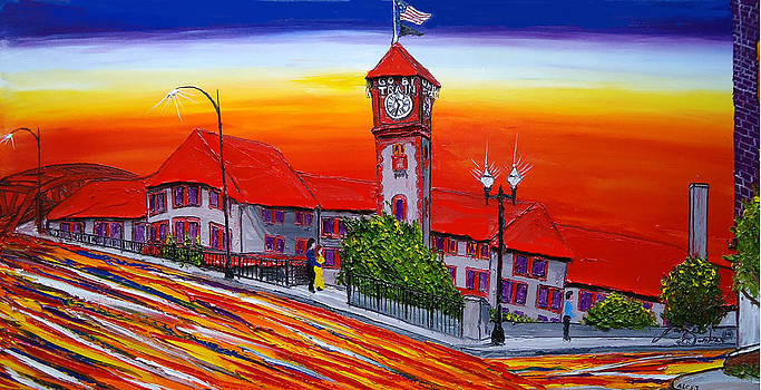 Portland Train Station At Dusk by Portland Art Creations