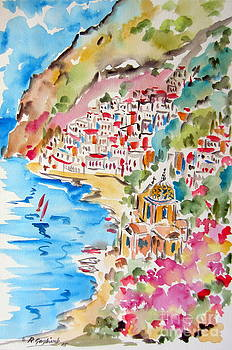 Positano Water Color by Roberto Gagliardi