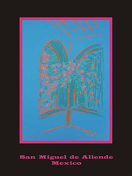 Poster - Light Blue Patio by Marcia Meade
