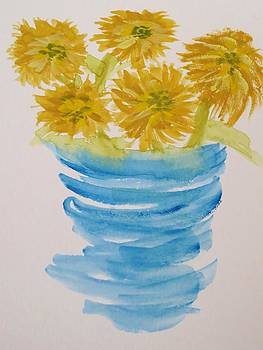 Pot of Sunflowers by Cindy Lawson-Kester
