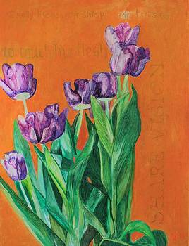 Potted Tulips were a Gift So Pretty Must Paint Share Vision To Touch His Flesh and I Really Like Gan by Cynthia Van Leeuwen