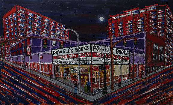 Powells Book Store At Night 2 by Portland Art Creations