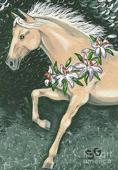 Prancing Palomino With Asiatic Lilies Wreath by Sherry Goeben