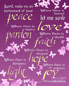 Prayer of St Francis - Pope Francis Prayer -Radiant Orchid Butterflies by Ginny Gaura