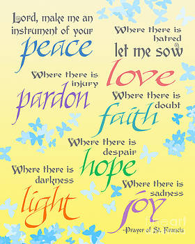 Prayer of St Francis - Pope Francis Payer -Yellow with Butterflies by Ginny Gaura