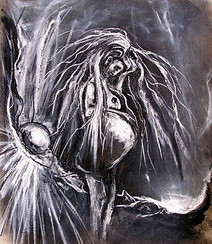 Pregnant Girl in Apocalyptic Landscape by Kenneth Agnello