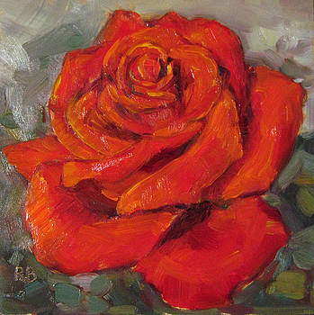 Pretty in Red Rose Oil Painting by Robie Benve