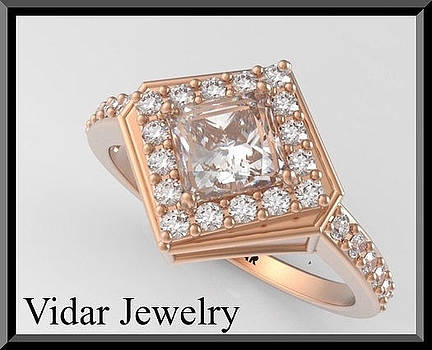 Princess Cut 14k Rose Gold Diamond Engagement Ring by Roi Avidar