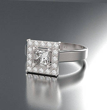 Princess cut Diamond 14k White Gold Sqaure Engagement Ring by Roi Avidar