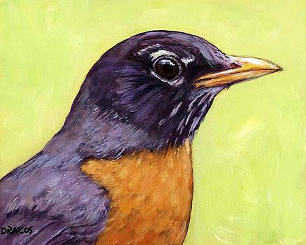 Profile of Robin Bird on Light Green by Dottie Dracos