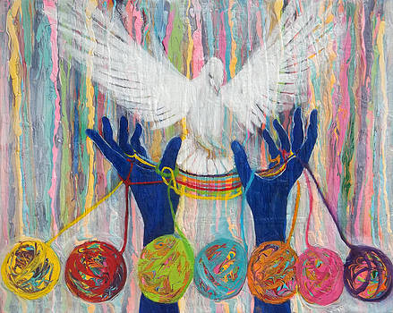 Anne Cameron Cutri - Prophetic Message Sketch 20 WHAT WOMAN WILL RISE UP    Yarn Hands Woven nest or bridge for Dove