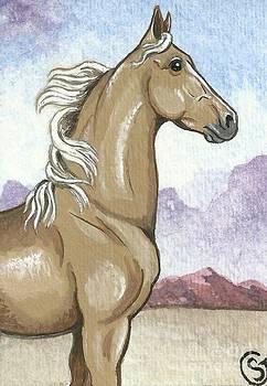 Proud Palomino Stallion in the Desert by Sherry Goeben
