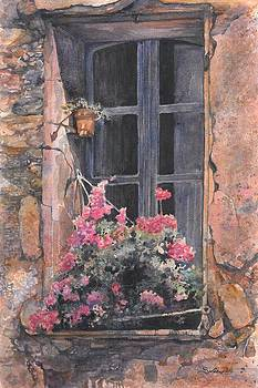Provence Window With Flowers by Sarah Kovin Snyder