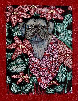 Pug in the Garden by Dede Shamel Davalos