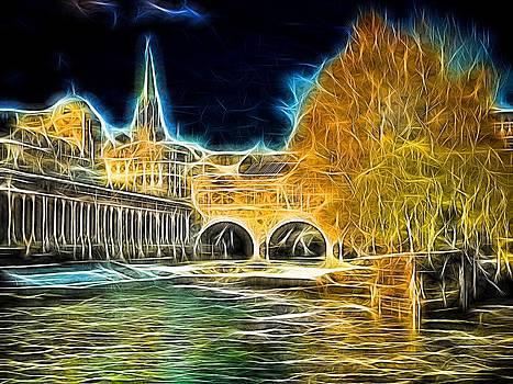 Pulteney bridge anarchy by Ron Harpham