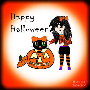 Pumpkin and Halloween Cat by Eva Thomas