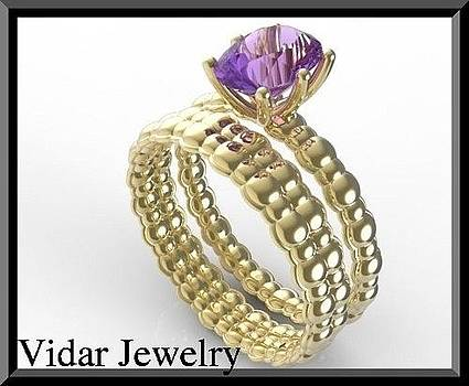 Purple Amethyst 14k Yellow Gold Wedding Ring And Engagement Ring Set by Roi Avidar