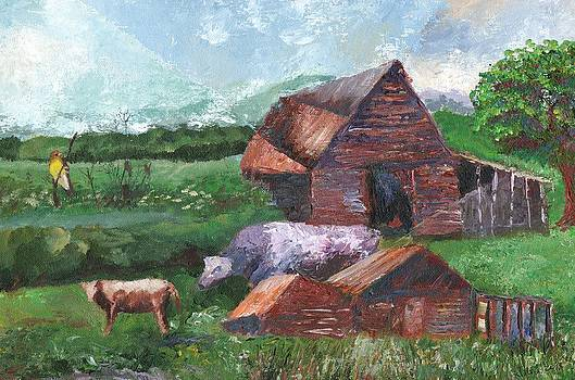 Purple Cow and Barn by William Killen
