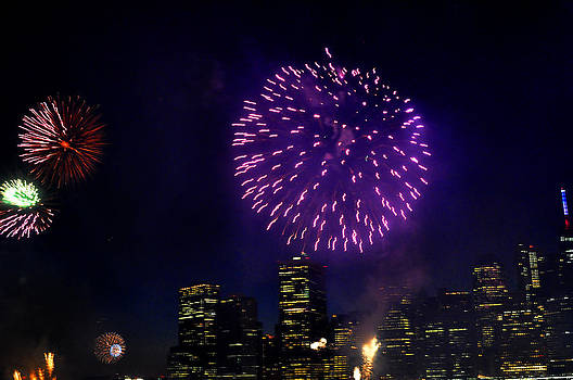 Purple fireworks over New York City by Diane Lent