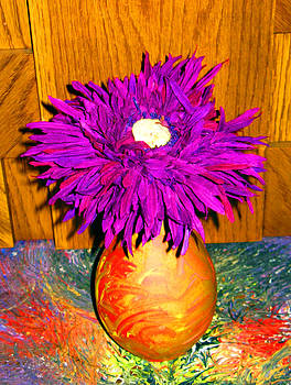 Purple Flower in Vase by Darryl  Kravitz