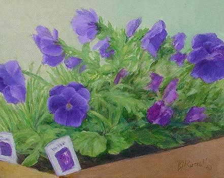 Purple Pansies Colorful Original Oil Painting Flower Garden Art  by K Joann Russell
